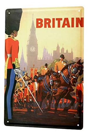 LEotiE SINCE 2004 Tin Sign Metal Plate Decorative Sign Home Decor Plaques World Trip England Big Ben Guards Parade Decorative Wall Plate 8X12