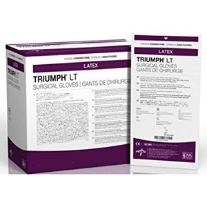 Medline MDS108085LT Triumph LT Sterile Powder-Free Latex Surgical Glove, Size 8.5, White (Pack of 200)