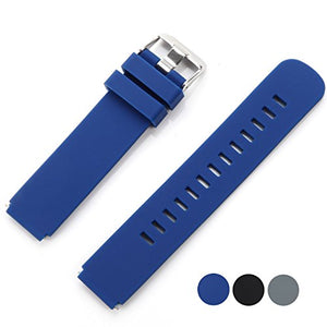 VIMVIP Easy Installed Long-Lasting Genuine Soft Silicone Bracelet Strap Wrist Watch Band for Samsung Gear S2 Classic Smart Watch and Moto 360 2nd Smart Watch 42mm (Blue)