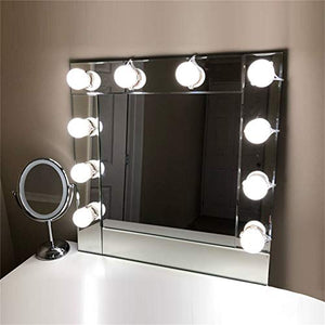 Lvyinyin Vanity Lights Kit Hollywood Style Makeup LED Light Bulbs with Stickers Attached to Bathroom Wall or Dressing Mirrors, Dimmable Switch, Power Plug, 10 Lights Daylight, Mirror Not Included