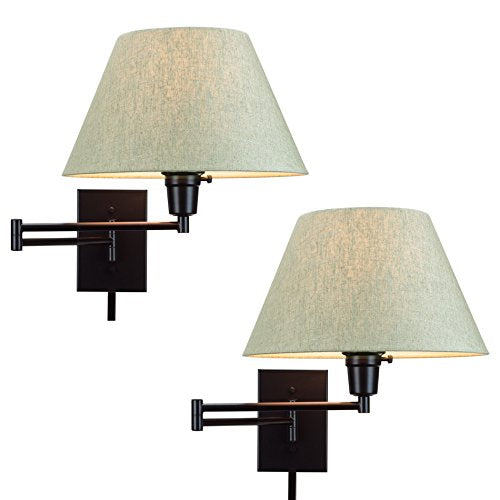 "Kira Home Cambridge 13"" Swing Arm Wall Lamp - Plug in/Wall Mount + Latte Mocha Fabric Shade, 150W 3-Way + Cord Covers, Black Finish, 2-Pack"