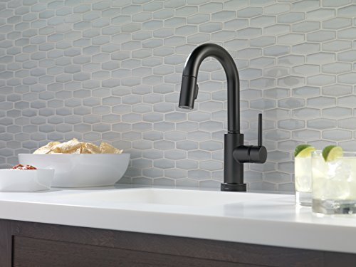 Delta Faucet Trinsic Single-Handle Bar-Prep Touch Kitchen Sink Faucet with Pull Down Sprayer, Touch2O Technology and Magnetic Docking Spray Head, Matte Black 9959T-BL-DST