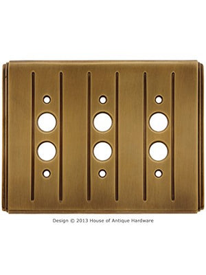 Streamline Deco Push Button Switch Plate - Triple Gang in Antique-by-Hand