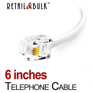 6 Inch Premium Quality Telephone Cable, RJ11 Male to Male 6P4C Phone Line Cord. Made in USA by Retail&Bulk (White)