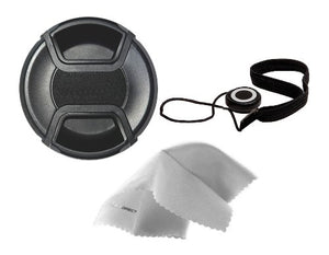 Nikon 1 J5 Lens Cap Center Pinch (62mm) + Lens Cap Holder + Nw Direct Microfiber Cleaning Cloth.
