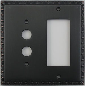 Egg & Dart Oil Rubbed Bronze 2 Gang Combo Switch Plate - 1 Push Button Light Switch 1 GFI Outlet/Rocker Switch