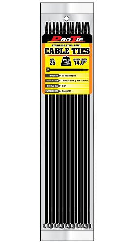 Pro Tie B14SSP25 14-Inch Stainless Steel Pawl Cable Tie, UV Black Nylon, 25-Pack