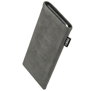 fitBAG Classic Gray Custom Tailored Sleeve for Wiko Lubi 3. Genuine Alcantara Pouch with Integrated Microfibre Lining for Display Cleaning