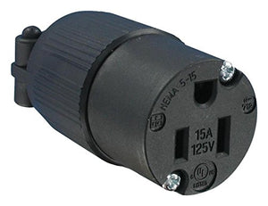 Q-712-Power Entry Connector, NEMA 5-15R, 15 A, Black, 125 V