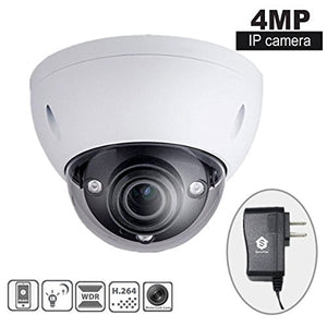 SavvyPixel 2.7mm To 12mm Motorized Lens 4Megapixel IP Security Camera System HD 1080P Audio and Alarm Dome IR Camera Include UL List Power Supply 12V1.5A