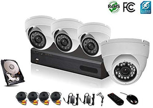 HDView 12CH Hybrid: 8 Channel DVR and 4 Channel NVR, with 1TB Hard Drive, HD 4-in-1 (TVI/AHD/Analog/IP) DVR Kit, 4 x 2.4MP 1080P Infrared Security Cameras Package System, Surge-Protection