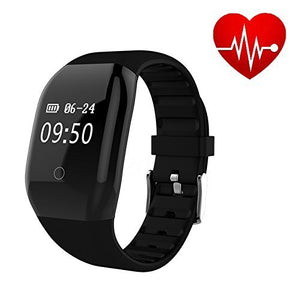 Mini Kitty Heart Rate Activity Fitness Tracker 608HR IP67 Waterproof Sports Wristband Pedometer Sleep Monitor/Call Notification Reminder/Calorie Counter for Android iOS Smartphone(Black)