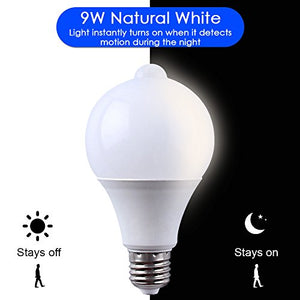 9W E27 LED Infrared Motion Detection Light Sensor Pir Light Bulb Lamp Auto Switch Night Light for Indoor Hallway Stairs Closet Basement Pantry Outdoor Porch Garage (Natural White 4000K)