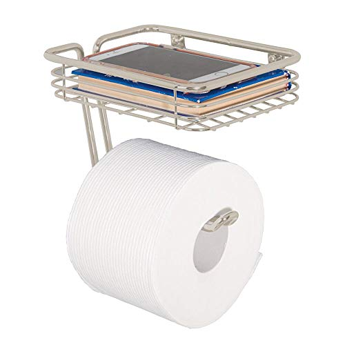 mDesign Toilet Tissue Paper Holder and Multi-Purpose Shelf - Wall Mount Storage Organizer for Bathroom, Holds 1 Mega Rolls - Durable Metal Wire Design - Satin