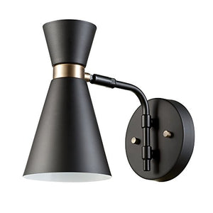 Globe Electric Belmont 1-Light Wall Sconce, Black Finish, Gold Accents, 65855