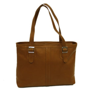 Piel Leather Ladies Laptop Tote, Saddle, One Size