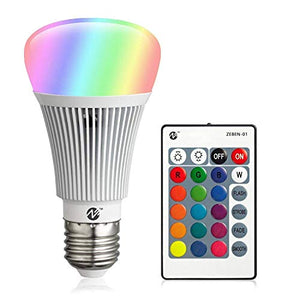 RGB LED Bulbs Color Changing Light Bulbs Dimmable 10W E26 Base with Daylight White and Remote Controller A19 Flood Light Bulb 100 Watt Equivalent (1 Pack)