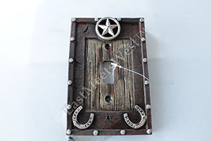 Western Cowboy Rustic Star Horseshoe Switch Plate Covers Electric Rustic Wood Look Western Decor (Single Switch)