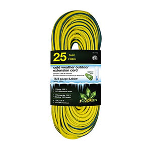 GoGreen Power GG-17725 16/3 25' SJEOW Cold Weather Extension Cord, Yellow - UL Approved
