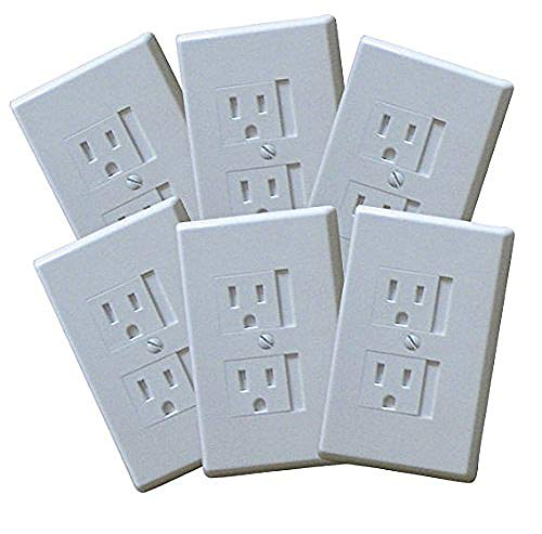 6-Pack Safety Innovations Self-closing (1Screw) Standard Outlet Covers - An Alternative To Wall Socket Plugs for Child Proofing Outlets (White)