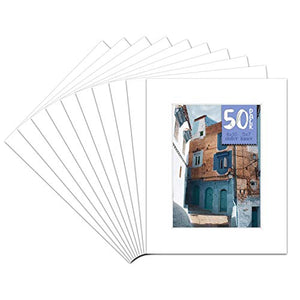 Golden State Art Pack of 50, Acid-Free White Pre-Cut 8x10 Picture Mat for 5x7 Photo with White Core Bevel Cut Frame Mattes