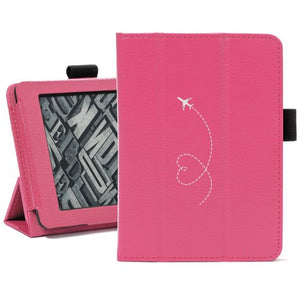 Hot Pink For Amazon Kindle Paperwhite Leather Magnetic Case Cover Stand Heart Love Travel Airplane