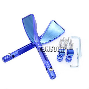 Blue Universal Motorbike CNC Aluminum 22mm Rearview Side mirror For Ducati Monster Hypermotard