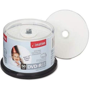 Imation DVD-R 27789 4.7GB 16X White Thermal Hub Printable 50/pk Cake Box