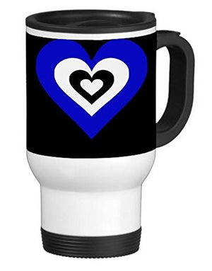 Blue & White Heart in a Heart 14 ounce Stainless Travel Mug Thermos