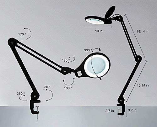 SMD LED Magnifying Lamp with Clamp 7 in 3 Diopter Lens