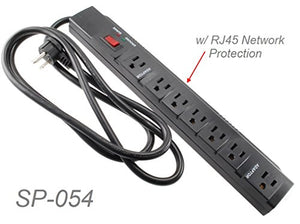 CablesOnline, 7 Outlets 1200-Joules Surge Protector Power Strip with 2-RJ45 Outlets & 6-foot Right-Angle Cable, SP-054