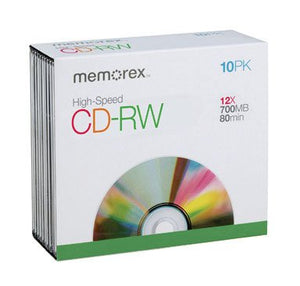 Memorex Blank Cd-Rw 4x Standard 80 Min 700 Mb Shrinkwrapped 10/Pack