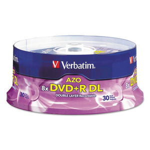 Verbatim 96542 Dual-Layer DVD+R Discs, 8.5GB, 8X, Spindle, 30/PK, Silver
