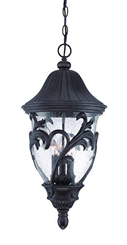 Acclaim 39226BC Capri Collection 3-Light Outdoor Light Fixture Hanging Lantern, Black Coral