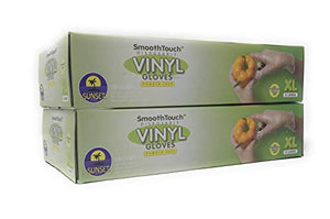 200 Disposable Viny Gloves, Non Sterile, Poweder Free, Smooth Touch, Food Service Grade, X Large Siz
