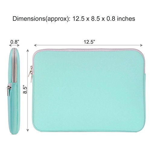HESTECH Chromebook Case, 11.6-12.3 inch Neoprene Laptop Sleeve Case Bag Handle Compatible with Acer Chromebook r11/HP Stream/Samsung/Lenovo C330/ASUS C202/MacBook air 11/ Surface Pro3/Pro4, Mint Green