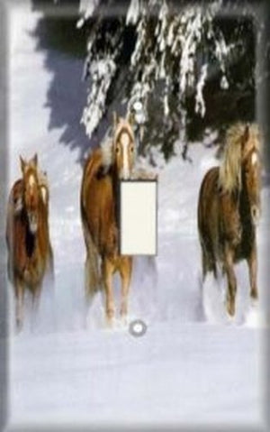 Decorative Light Switch Plate Cover - Snow Horses