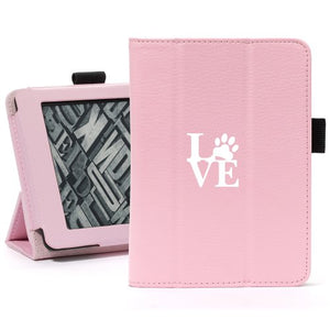 Pink For Amazon Kindle Paperwhite Leather Magnetic Case Cover Stand Love Paw Print