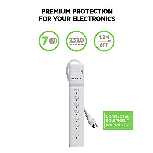 Belkin Be107200 06 7 Outlet Power Strip Surge Protector W/6ft Cord   Ideal For Computers, Home Theat