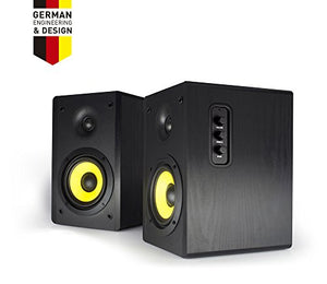 Thonet and Vander Kurbis BT Bluetooth Bookshelf Speakers, Wooden Stereo Speakers with Enhanced Bass, 340 watts PMPO