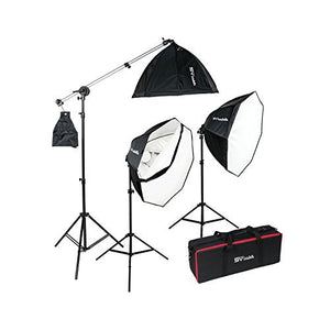 Smith Victor OctaBella 1500W 3-Light LED Softbox Kit with Boom Arm