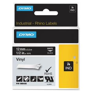Rhino Permanent Vinyl Industrial Label Tape, 1/2