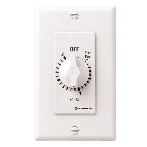 Intermatic FD2HW 2-Hour Spring-Loaded Automatic shut-off Wall Timer for Fans and Lights with Hold, White
