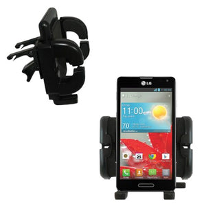 Gomadic Innovative Vent Cradle Vehicle Mount Designed for The LG Optimus F7 - Adjustable Vent Clip Holder for Most Car/Auto Vent Systems