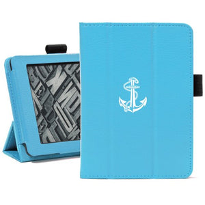Light Blue For Amazon Kindle Paperwhite Leather Magnetic Case Cover Stand Anchor with Rope