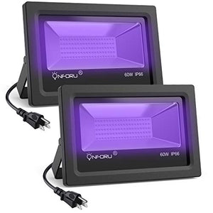 Onforu 2 Pack 60 W Uv Led Black Lights, Uv Flood Light With Plug, Ip66 Waterproof, Blacklight For Dan