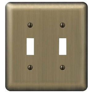 American Tack 154TT Double Toggle Wallplate with Brushed Brass Finish