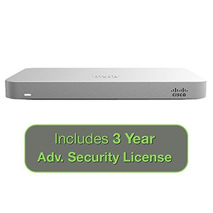 Cisco Meraki MX64 Small Branch Security Appliance Bundle, 200Mbps FW, 5xGbE Ports - Includes 3 Years Advanced Security License