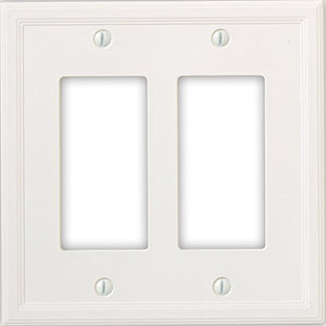 Questech Cornice Insulated Decorative Switch Plate/Wall Plate Cover  Made in the USA (Double Decorator, White)