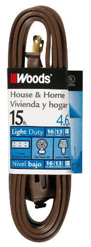 Woods 0600 Indoor Extension Cord with Three 2-Prong Power Outlets (15 Foot, Brown)